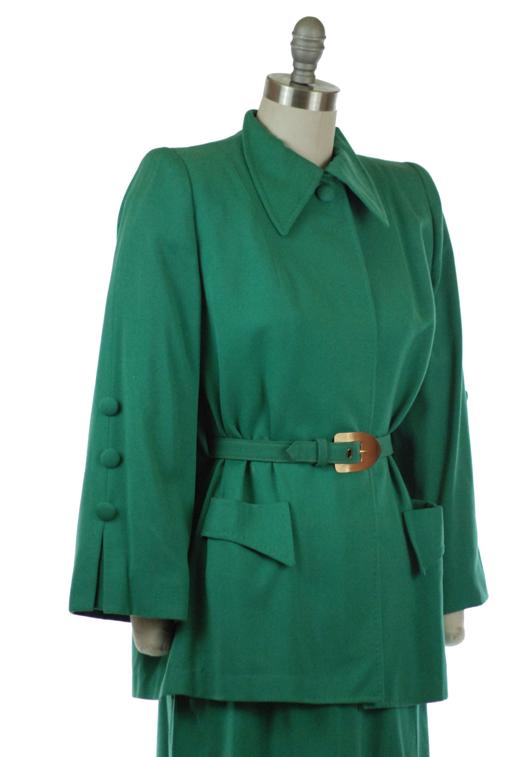 Fantastic 1940s Green Gabardine Suit with Belted, Caped Jacket and Button Accents
