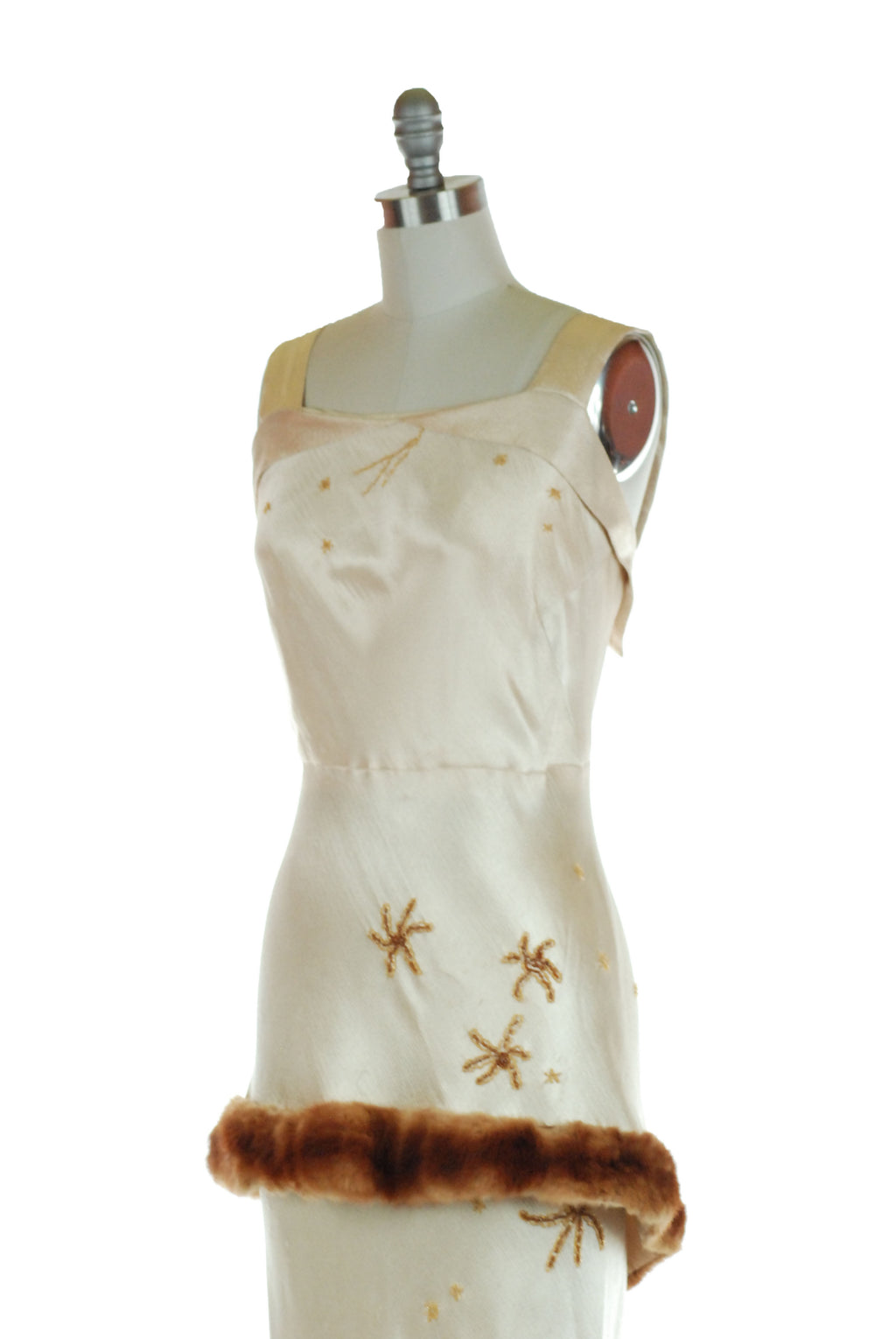 Exquisite 1930s Hattie Carnegie Bias Cut Designer Dress with Beaded Stars and Fur Trim NRA Tag