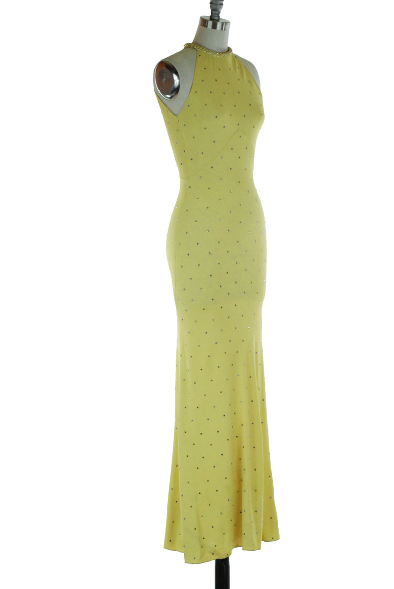 Magnificent 1930s Yellow Chartruese Bias Cut Rayon Crepe Gown Spangled with Rhinestones