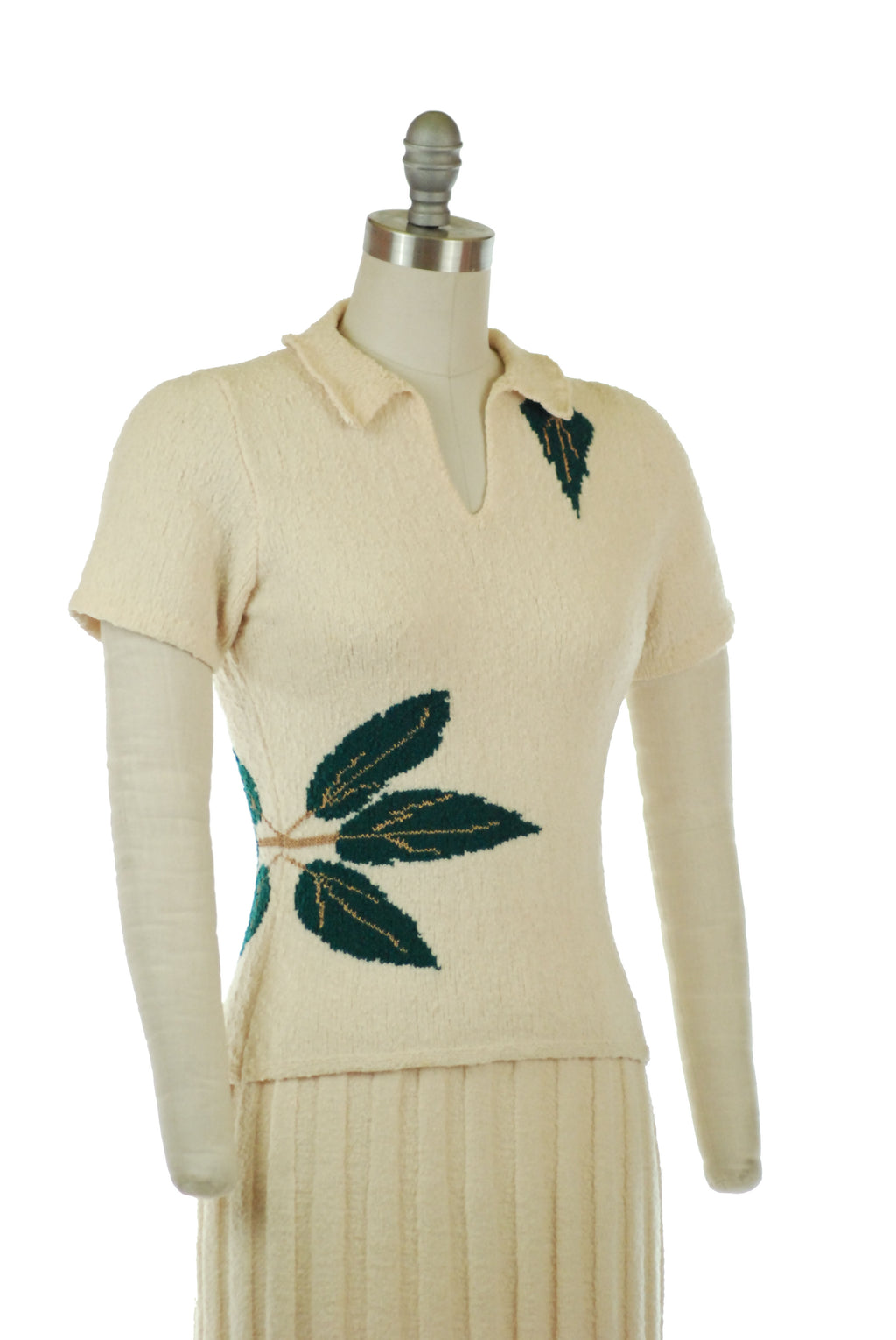 Fantastic 1950s Ivory Boucle Sweater Set with Knitted Leaf Motif