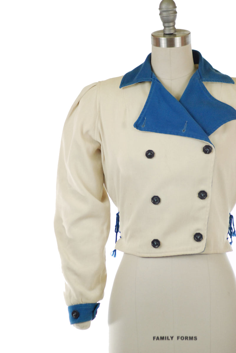 Fantastic 1940s Cotton Whipcord Colorblock Ski Jacket with Laced Sides