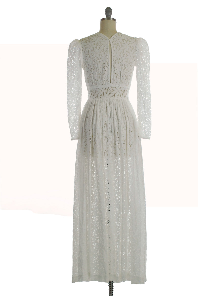 Exquisite Late 1930s Cotton Lace Wedding Dress with Shirring and Pointed Midwaist