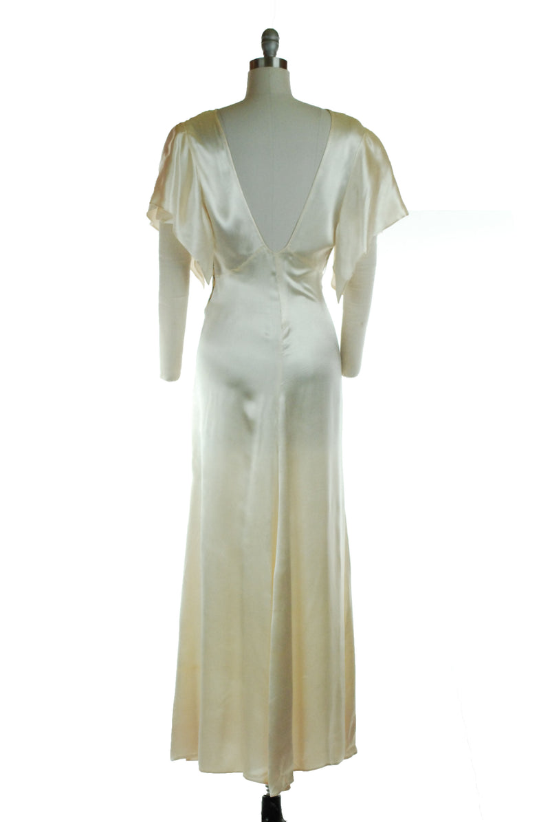 Lustrous 1930s Textured Silk Satin Charmeuse Wedding Gown with Butterfly Sleeve Detail