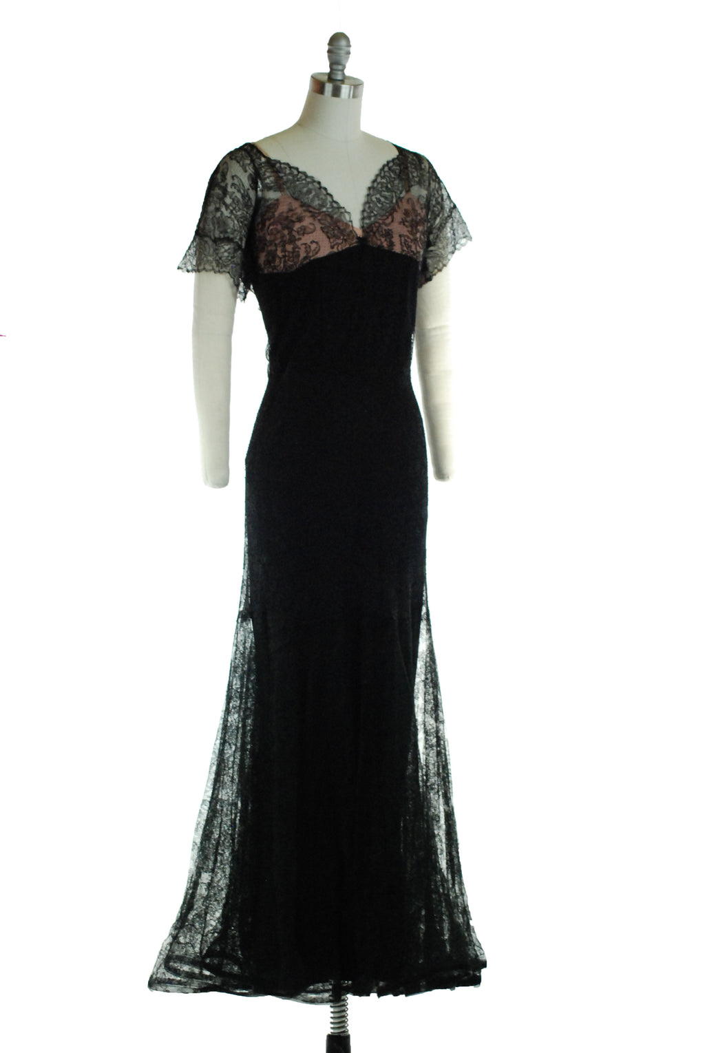 Alluring Late 1930s Nude Illusion and Black Lace Evening Gown with Sheer Sleeves