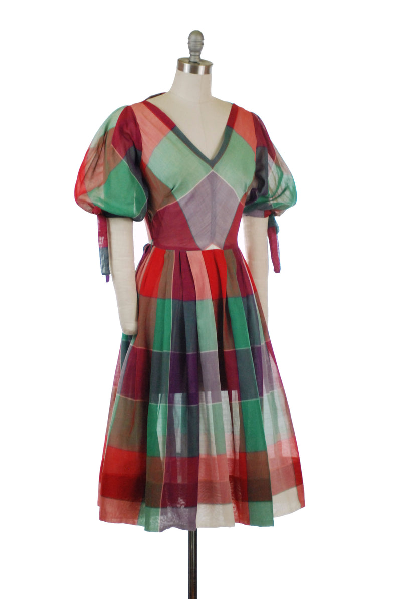 Brilliant 1950s Bright Plaid Semi-Sheer Cotton Day Dress with Tied Puff Sleeves