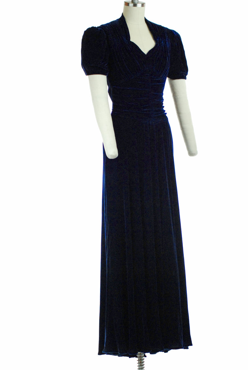 Lavish 1930s Blue Velvet Evening Gown with Puffed Sleeves and Ruched Bodice