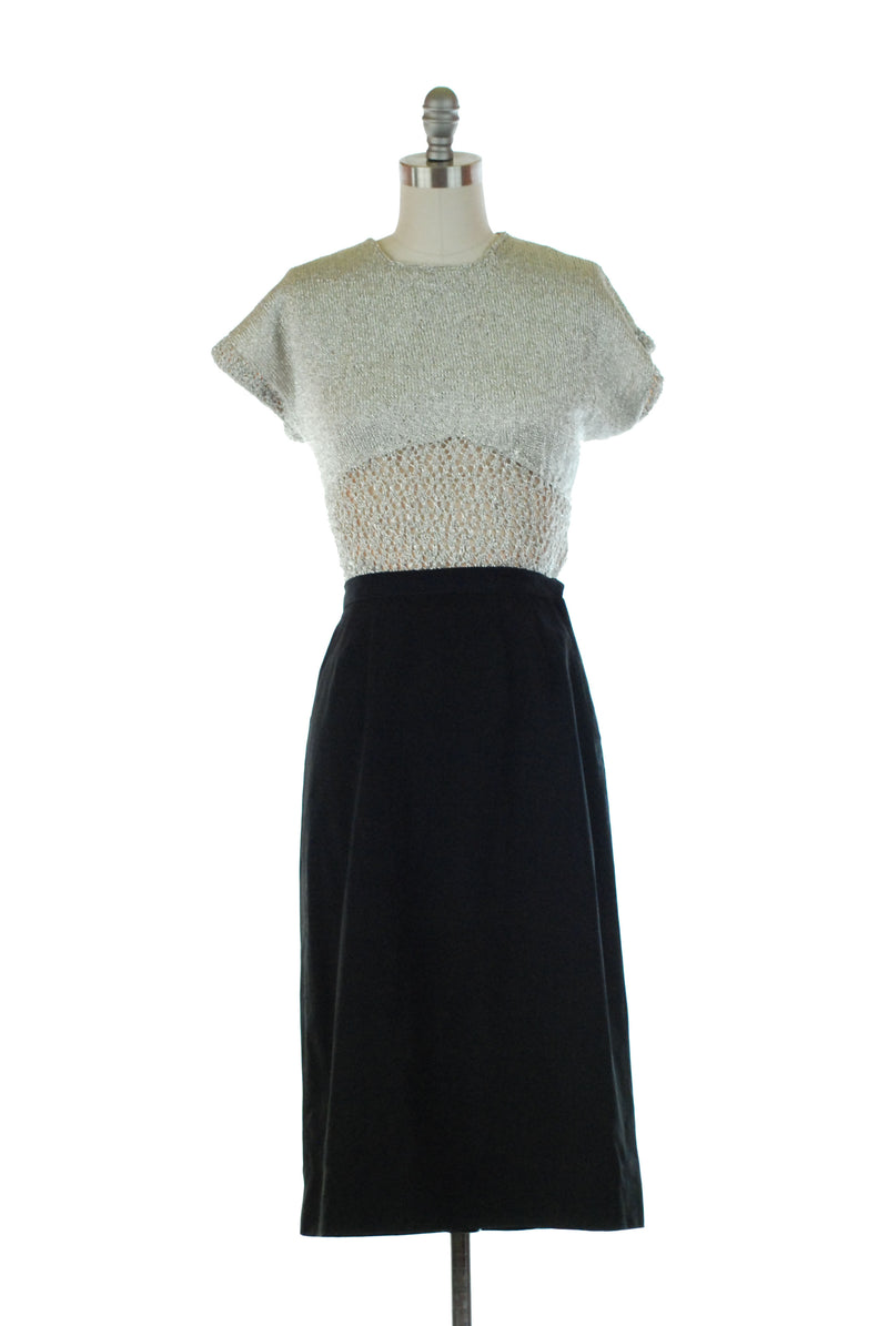 Classic 1950s Straight Skirt of Tabby Wool with Crisp Darts