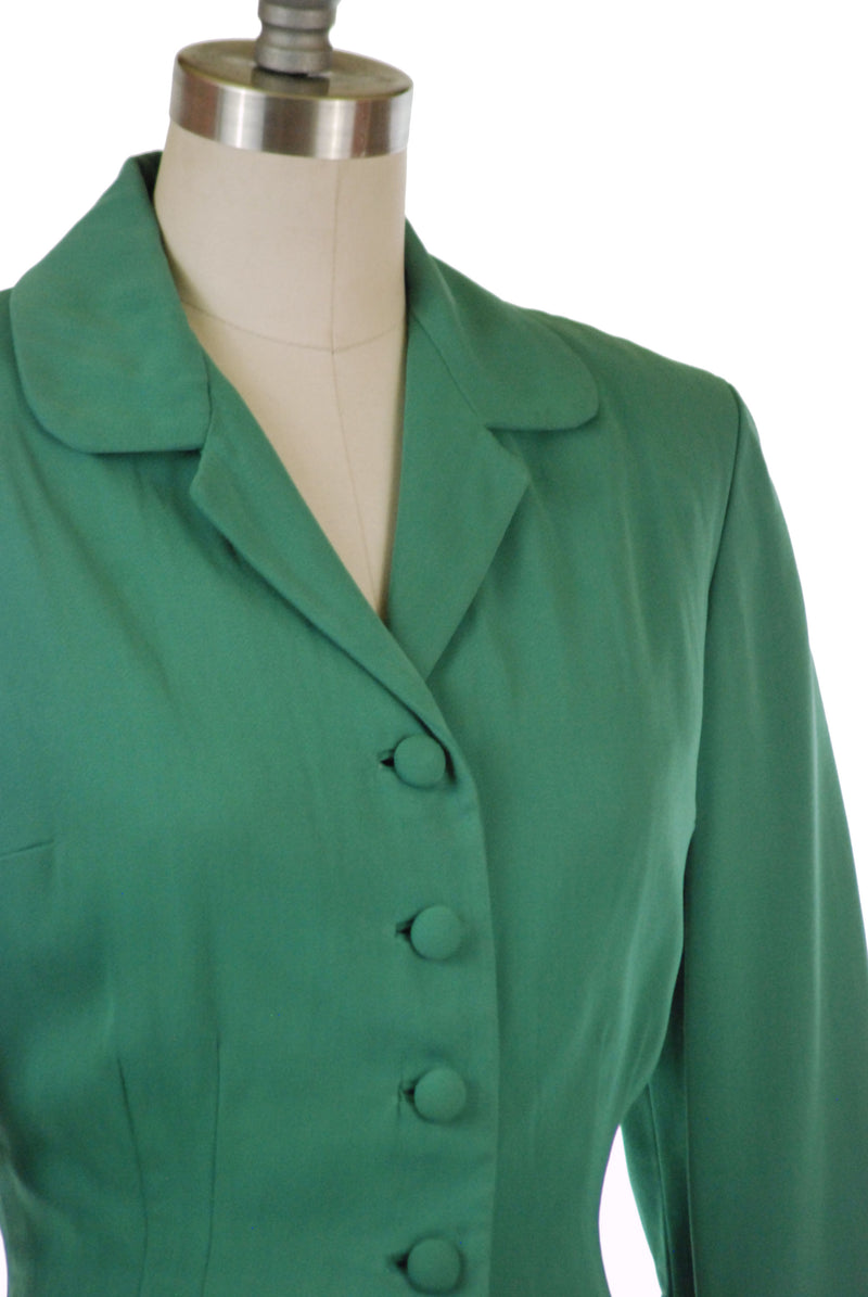 Layaway Deposit for Beautiful 1940s Post-War Sage Green Gabardine Suit with Flared Full Skirt