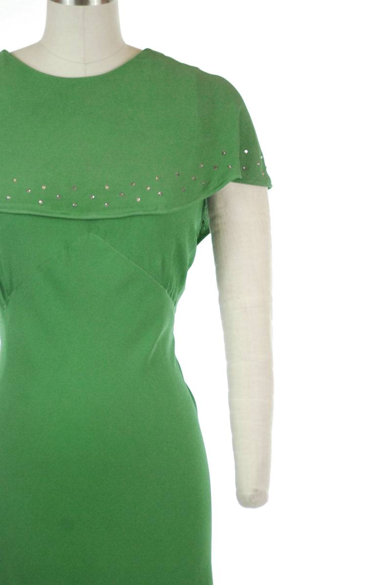Dreaming 1930s Grass Green Rayon Crepe with Attached Rhinestone Studded Capelet