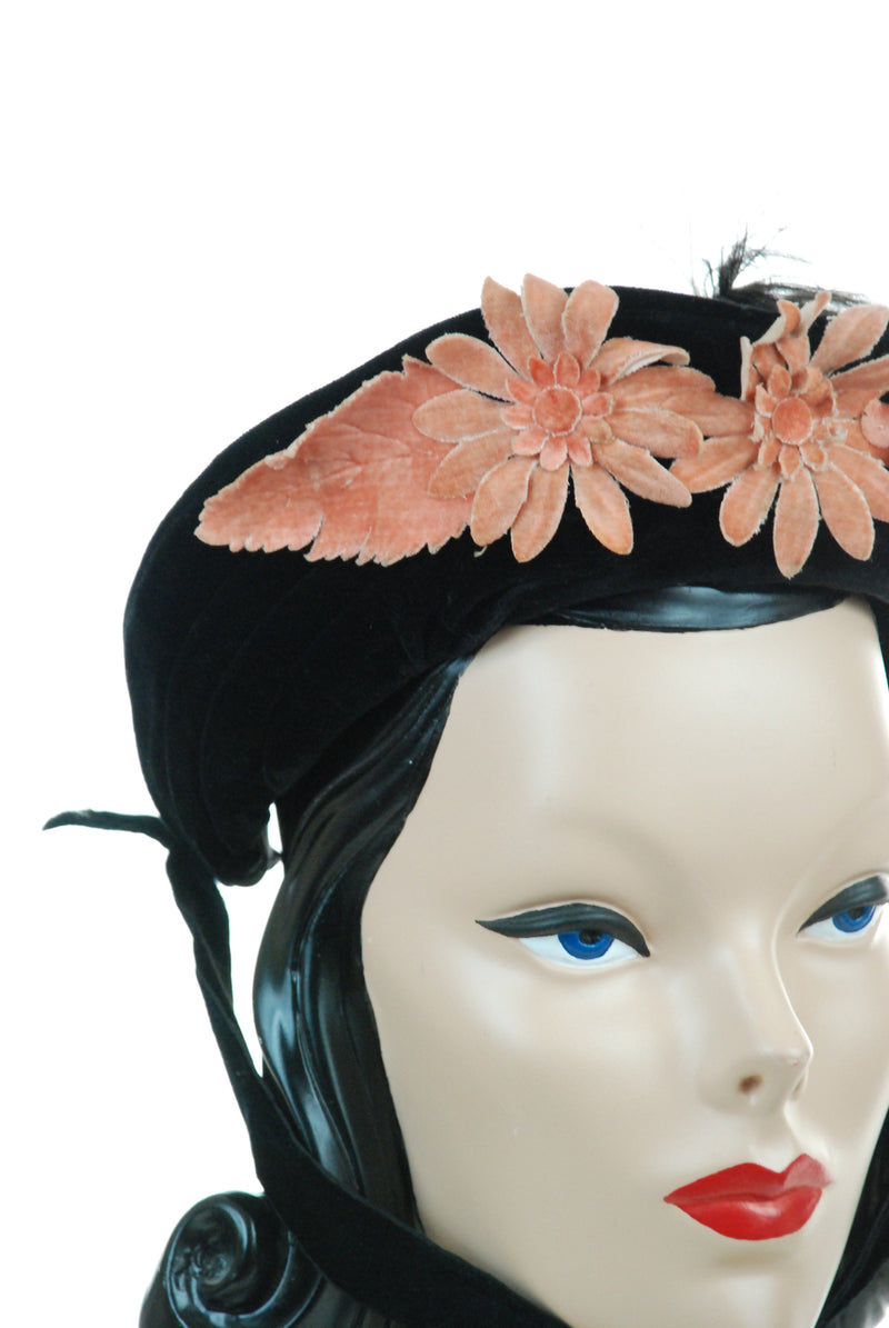 Authentic c. 1880s Victorian Bonnet in Black Velveteen with Ostrich Feather and Peach Flowers