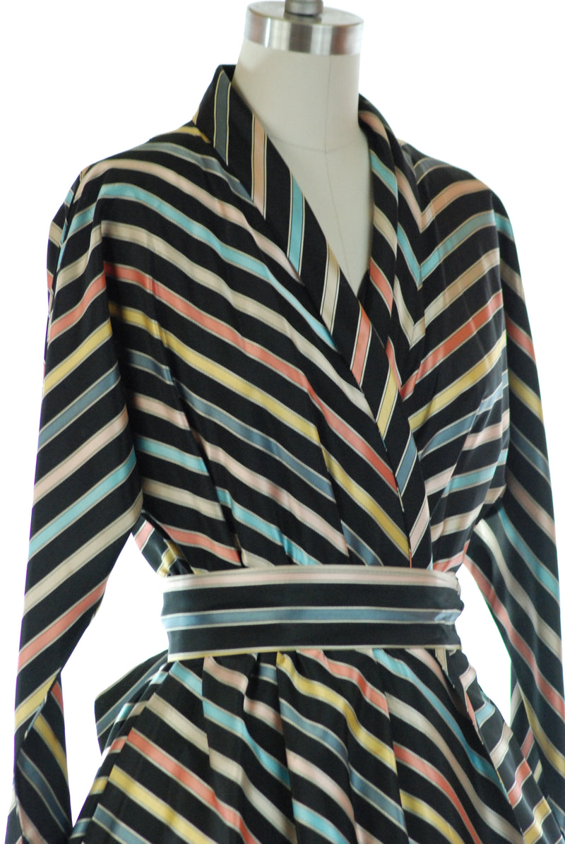 Killer 1950s Wrap Style Rainbow Striped Hostess Robe or Dressing Gown in Full Swing Style with Sash