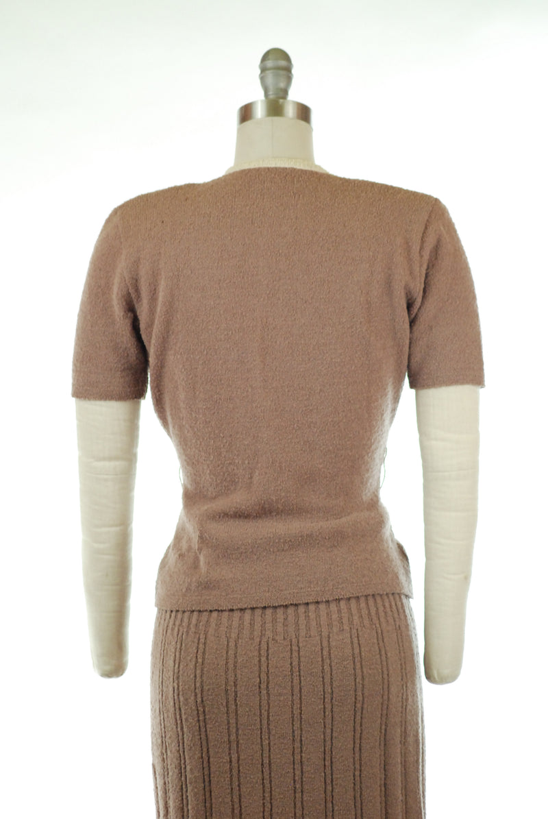 Gorgeous 1950s Colorblock Wool Boucle Knit Sweater Set by KIMS Kimberly Knit