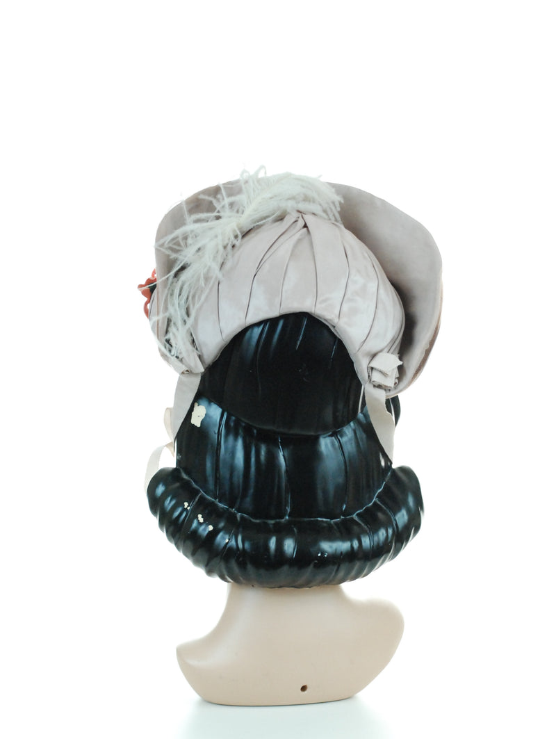 Authentic c. 1880s Victorian Bonnet in Grey Silk with Ostrich Feather and Coral Flowers