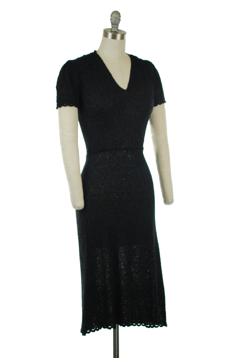 Alluring Late 30s/Early 1940s Semi-Sheer Rayon Boucle Sweater Dress with V Neckline