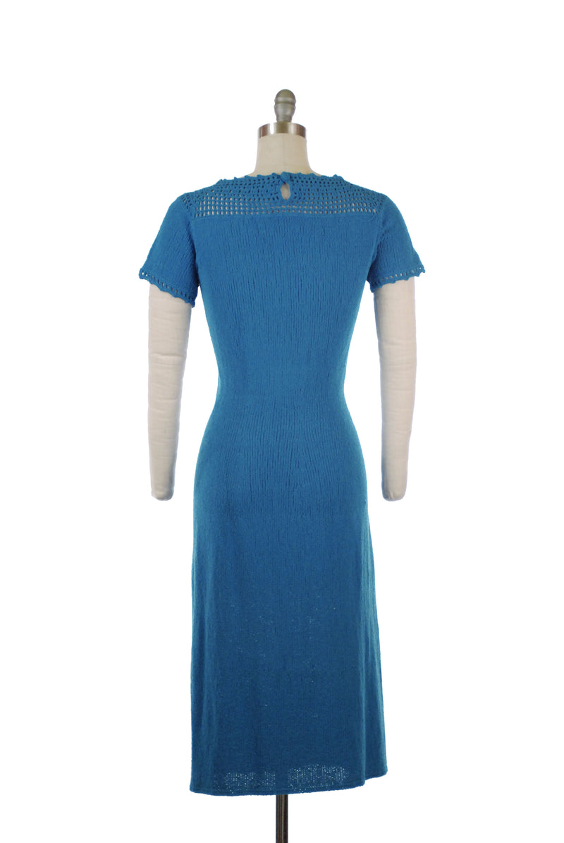 Beautiful 1950s Robin's Egg Blue Knit Dress with Crocheted Neckline