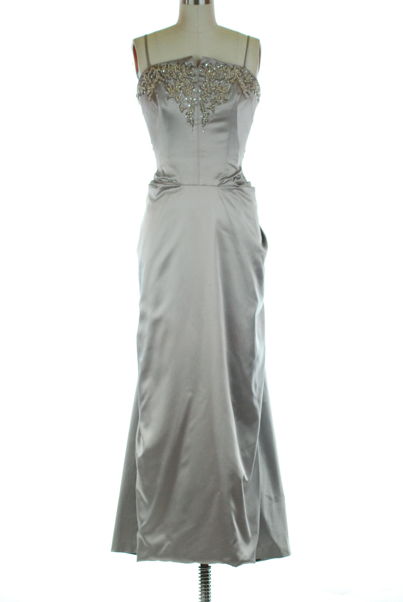 Lustrous 1950s Emma Domb Evening Gown in Silvery Lavender Brushed Satin with Pearls