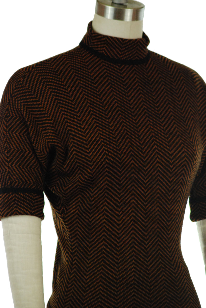 Late 1950s Knit Sweater Set in Deep Orange and Black Herringbone with Mock Turtleneck