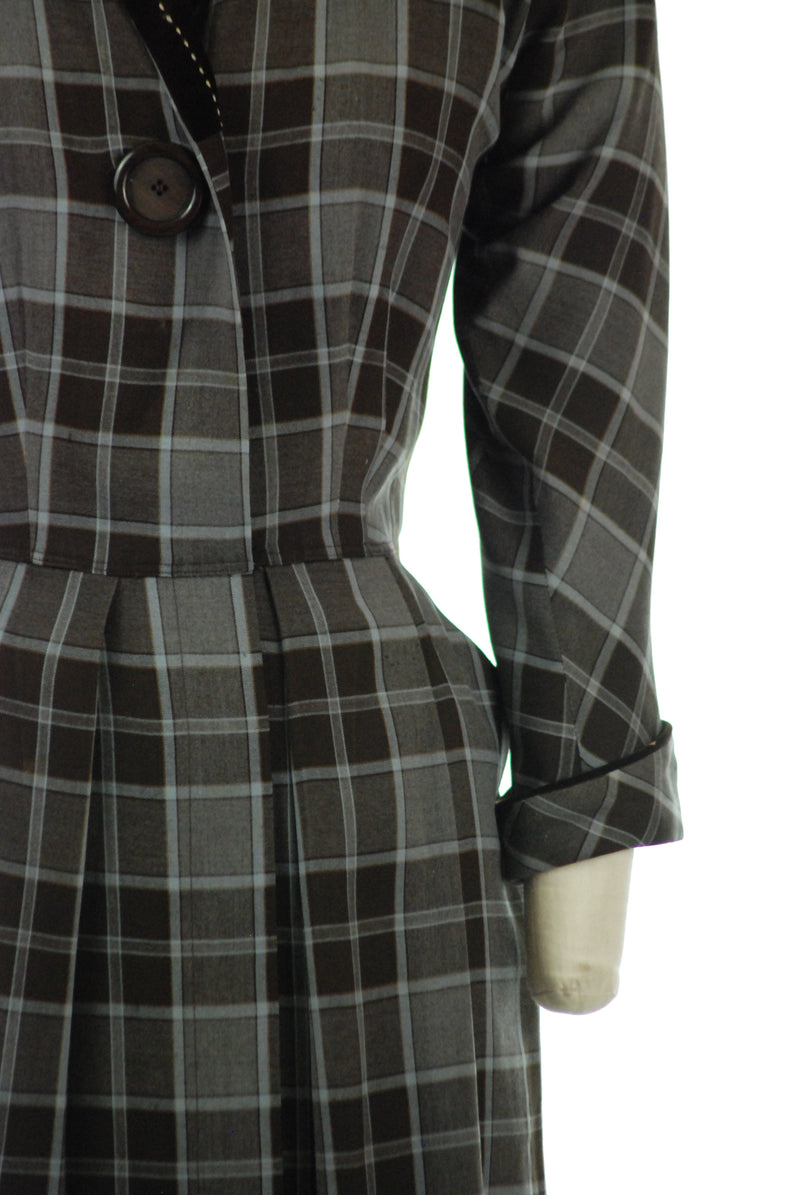 Smart Late 1940s Tailored Brown and Periwinkle Grey Plaid Dress with Velvet Collar by Pat Hartley