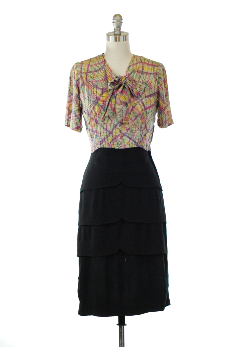 Cute 1940s Silk and Rayon Cocktail Dress with Printed Bodice and Tiered Skirt.
