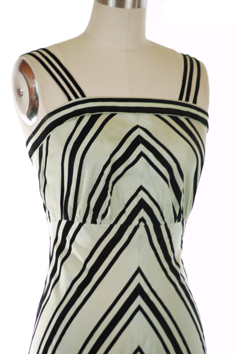 Rare 1930s Evening Dress Set in Mint Green with Chevron Stripes Custom Designed by Myra Jervey
