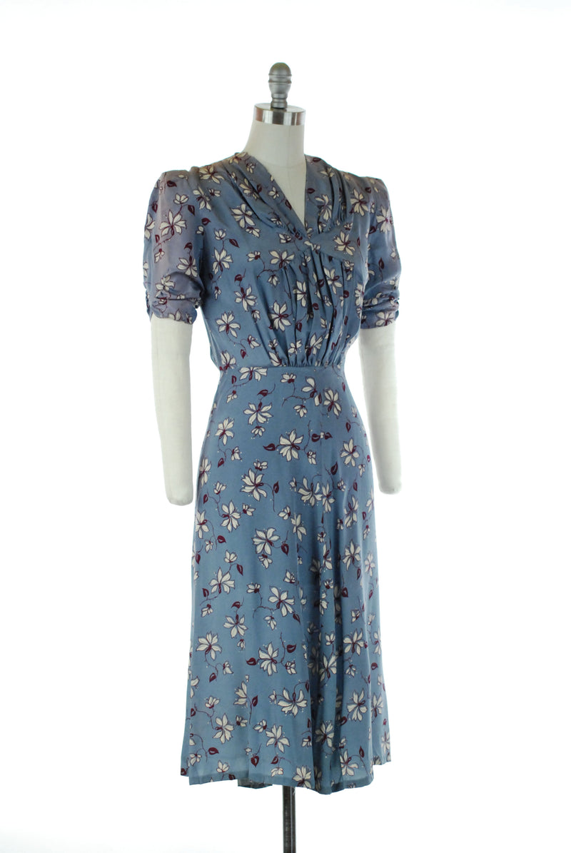 Sweet Late 1930s Cornflower Blue Silk Day Dress with Burgundy and White Floral Print