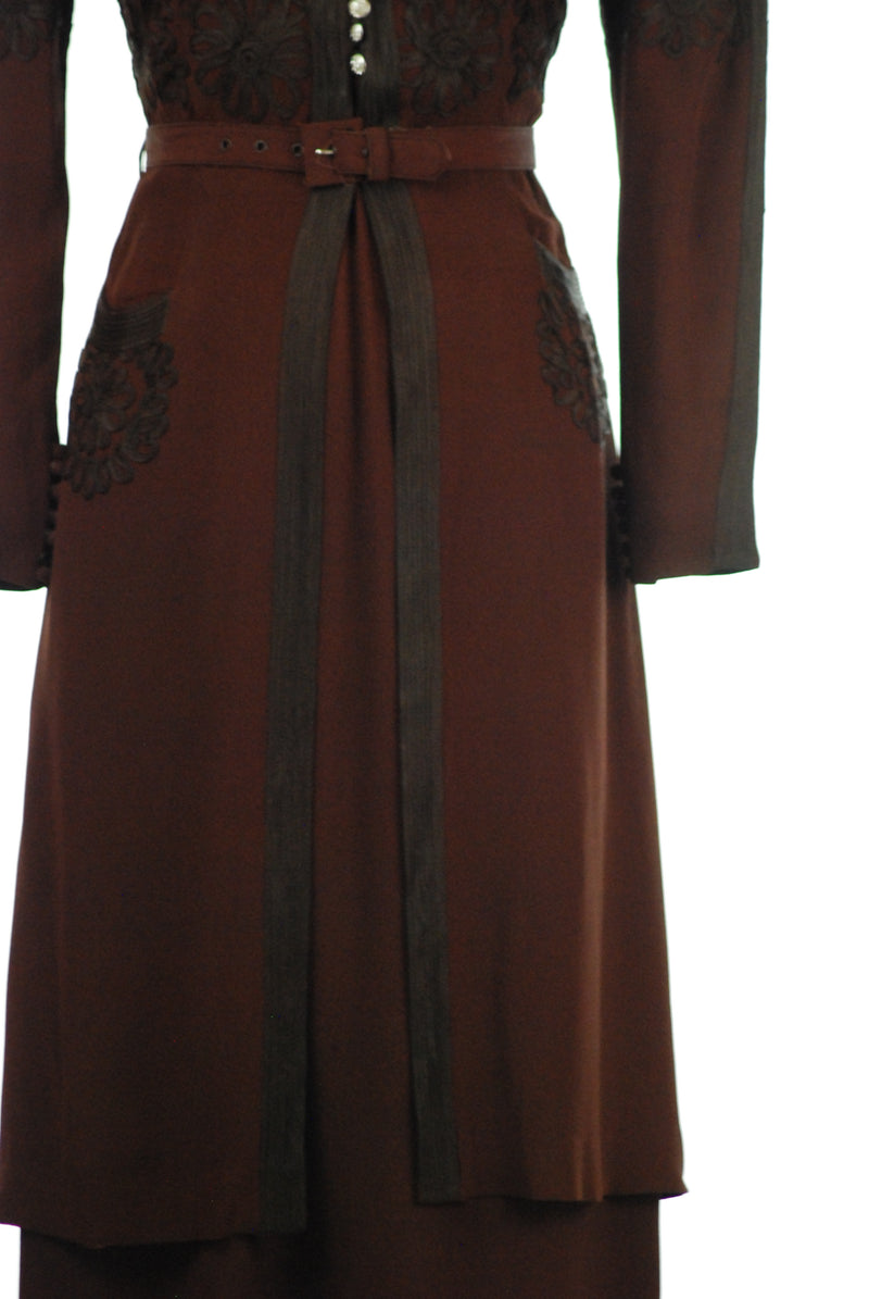 Fantastic 1930s FOGA Two Piece Dress in Brown Rayon Crepe and Net with Soutache