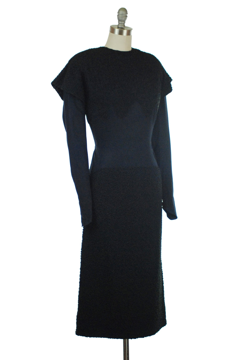 Layaway Deposit for Rare 1930s Navy Rayon Crepe Dress with Exceptional Soutache Work