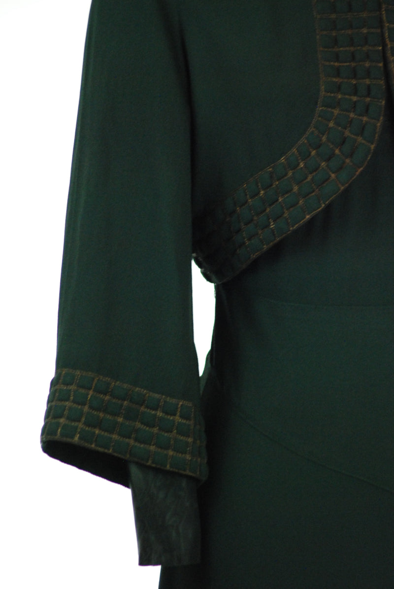 Exceptional 1930s NRA Label Dress and Trapunto Jacket in Forest Green Crepe with Gold