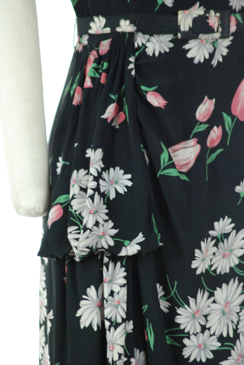 Summery Mid 1940s Floral Printed Rayon Crepe Dress with Draped Side Sash