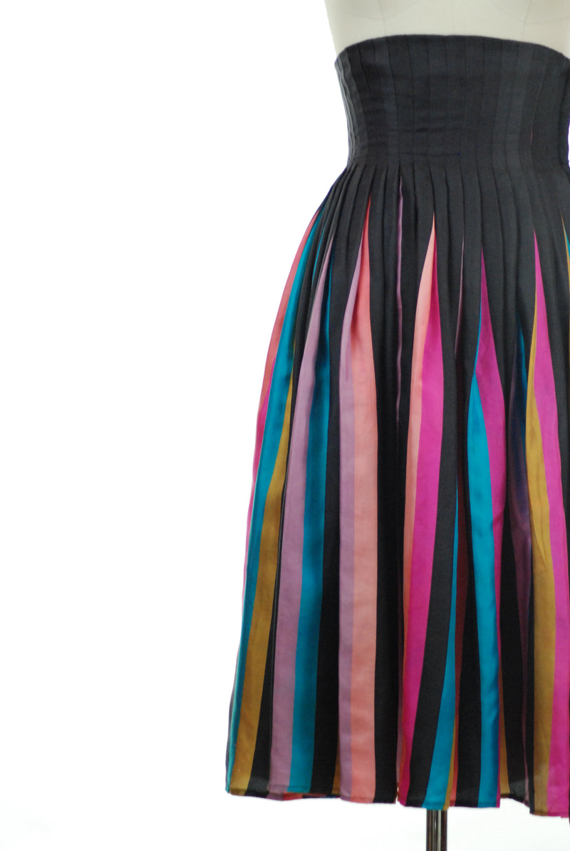 Incredible 1950s Rainbow Striped Silk Skirt with Ultra High Waist