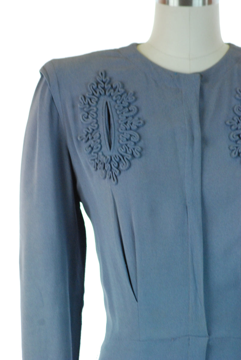 Charming As-Is Late 30s Day Dress in Cornflower Blue with Soutache