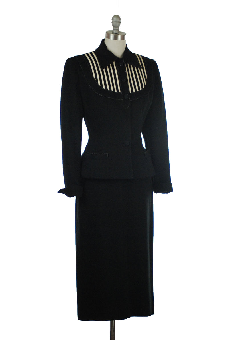 Rare 1950s Lilli Ann Suit in Black and White with Top Stitching in Cashmere Blend