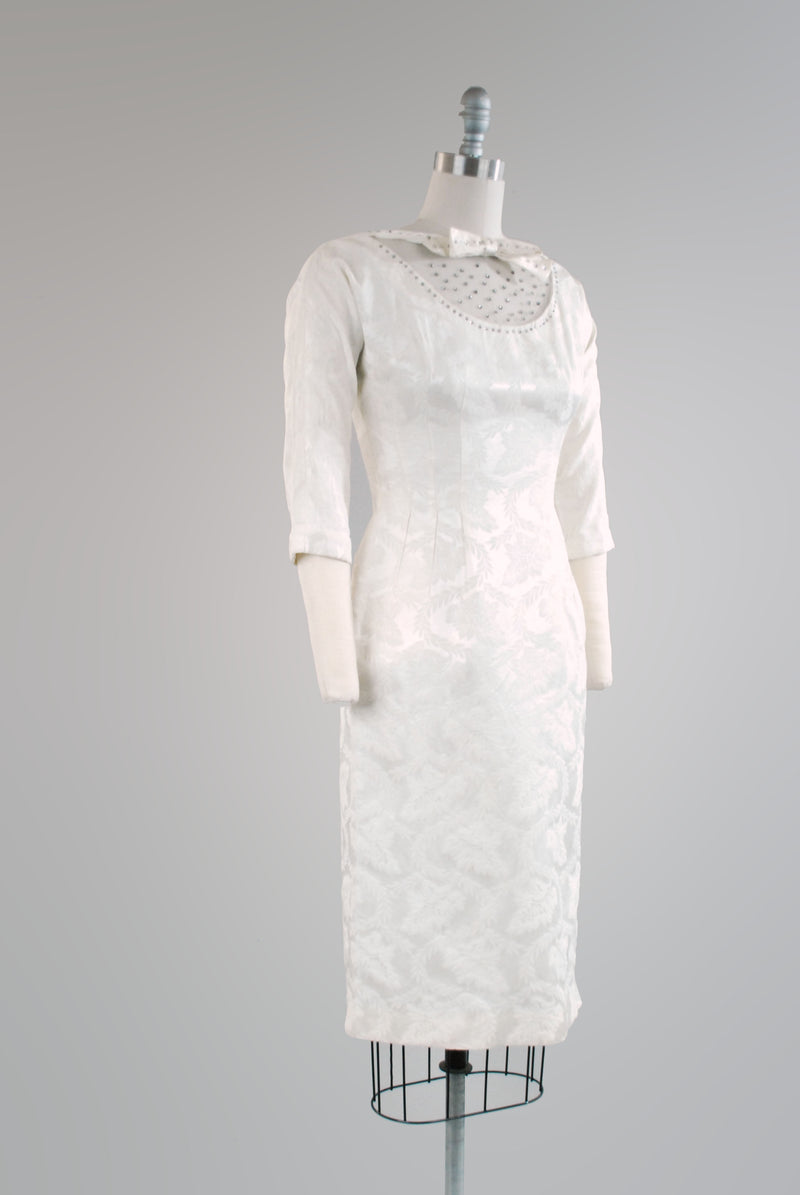 Saucy 1960s Cocktail or Wedding Dress with Rhinestone Studded Neckline