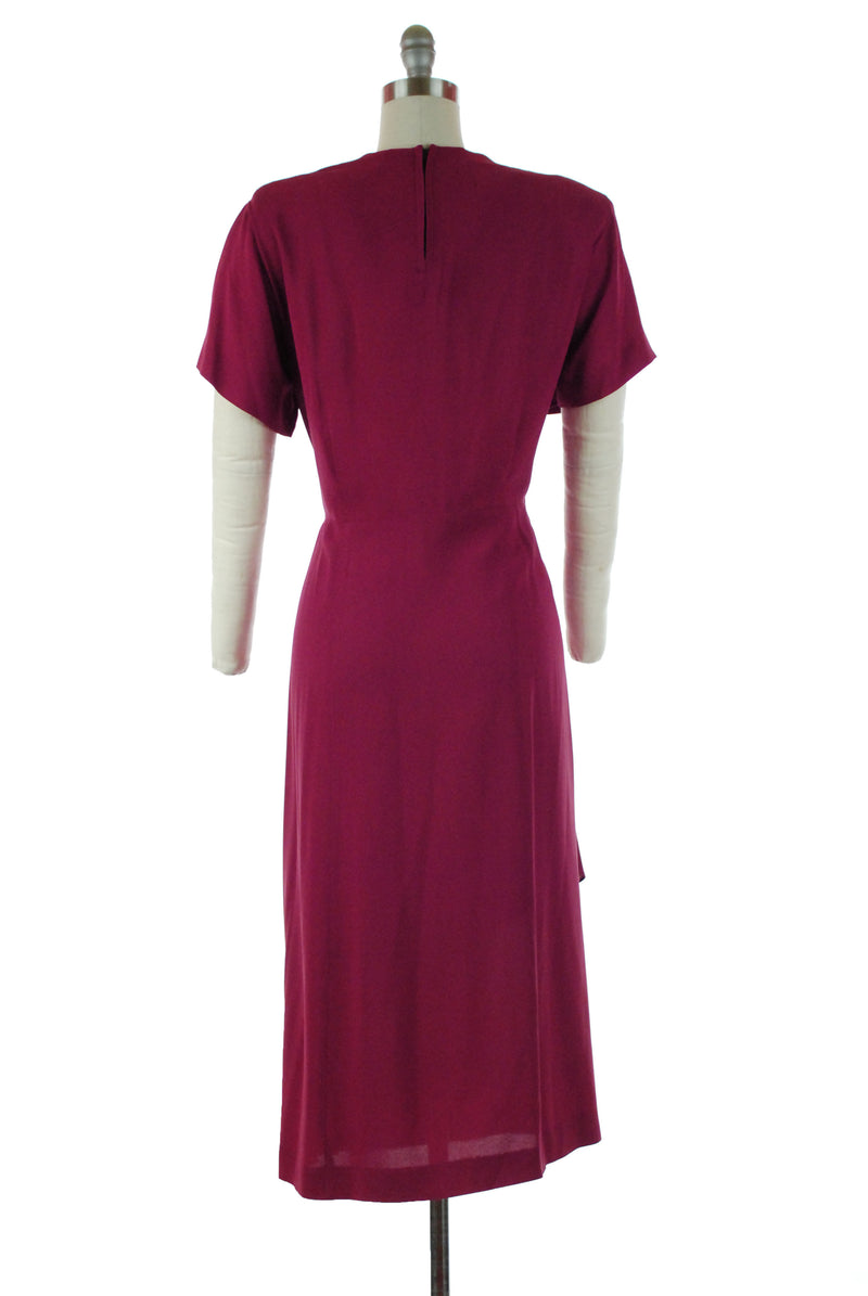 Fantastic 1940s Cocktail Dress in Deep Fuchsia with Asymmetric Draping and Beadwork XL XXL