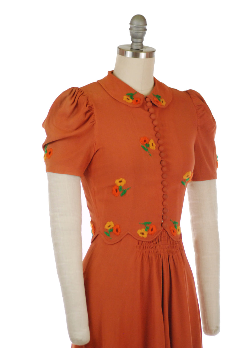 Adorable Late 1930s Dress by Fashion Originators Guild in Pumpkin Colored Rayon Crepe