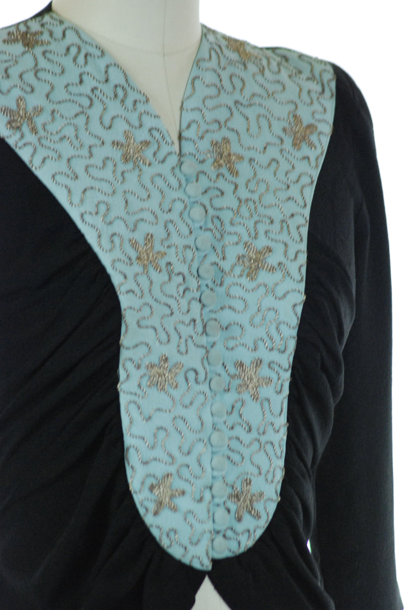 Gorgeous 1940s Colorblock Blouse in Back and Robin's Egg Blue with Metallic Soutache