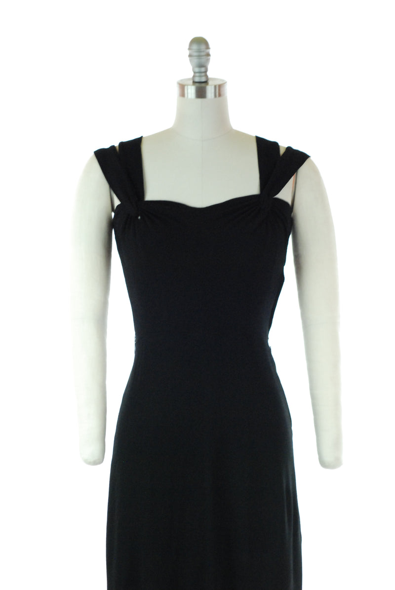 1940's Little Black Dress in Rayon Crepe with Double Straps and Sleek Fit