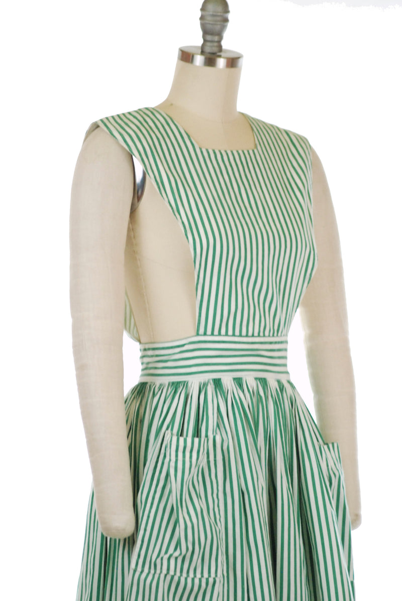 Adorable  Early 50s Green and White Striped Cotton Pinafore