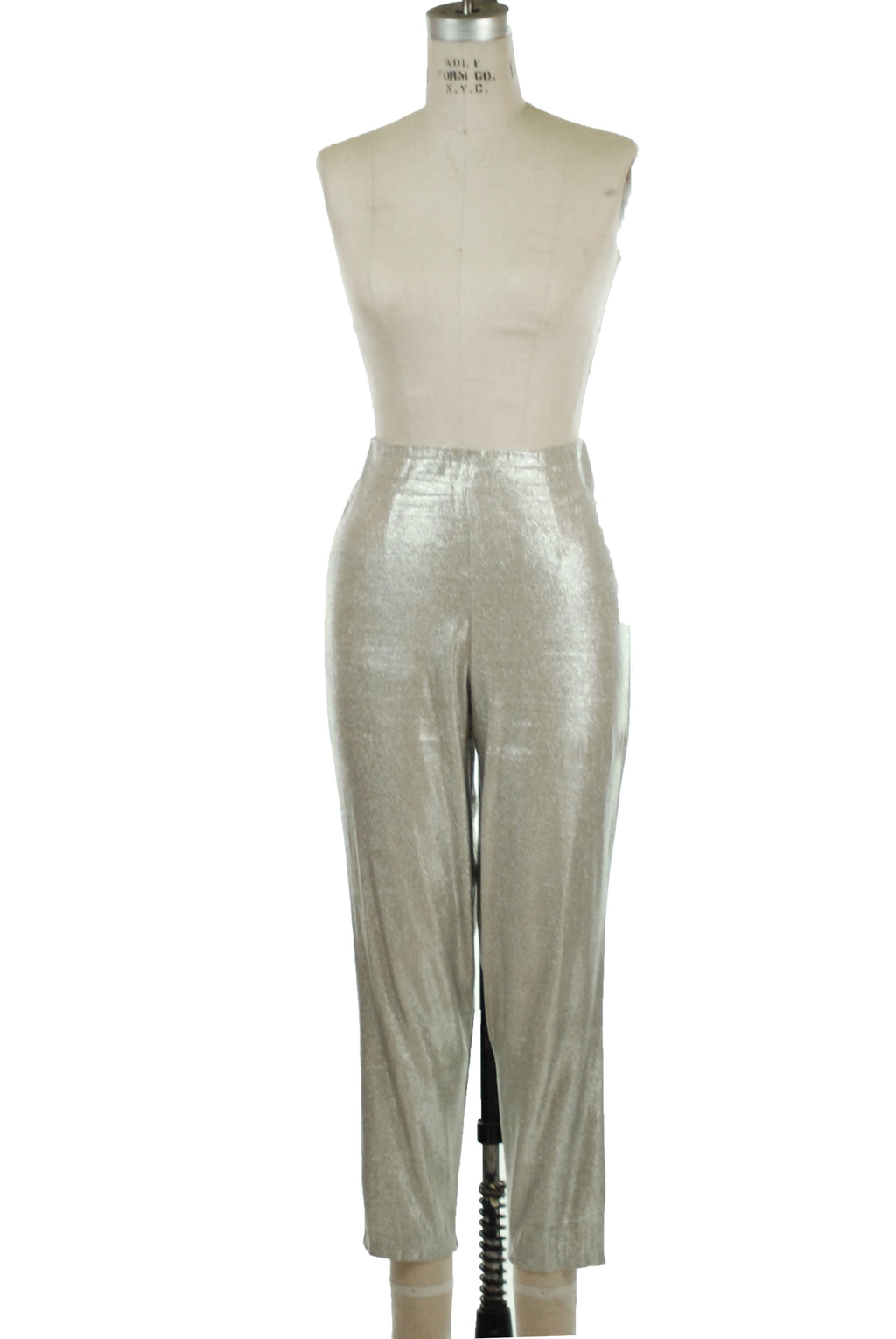 Killer 1960s Sparkling Silver Lurex Cigarette Pants with High Waist