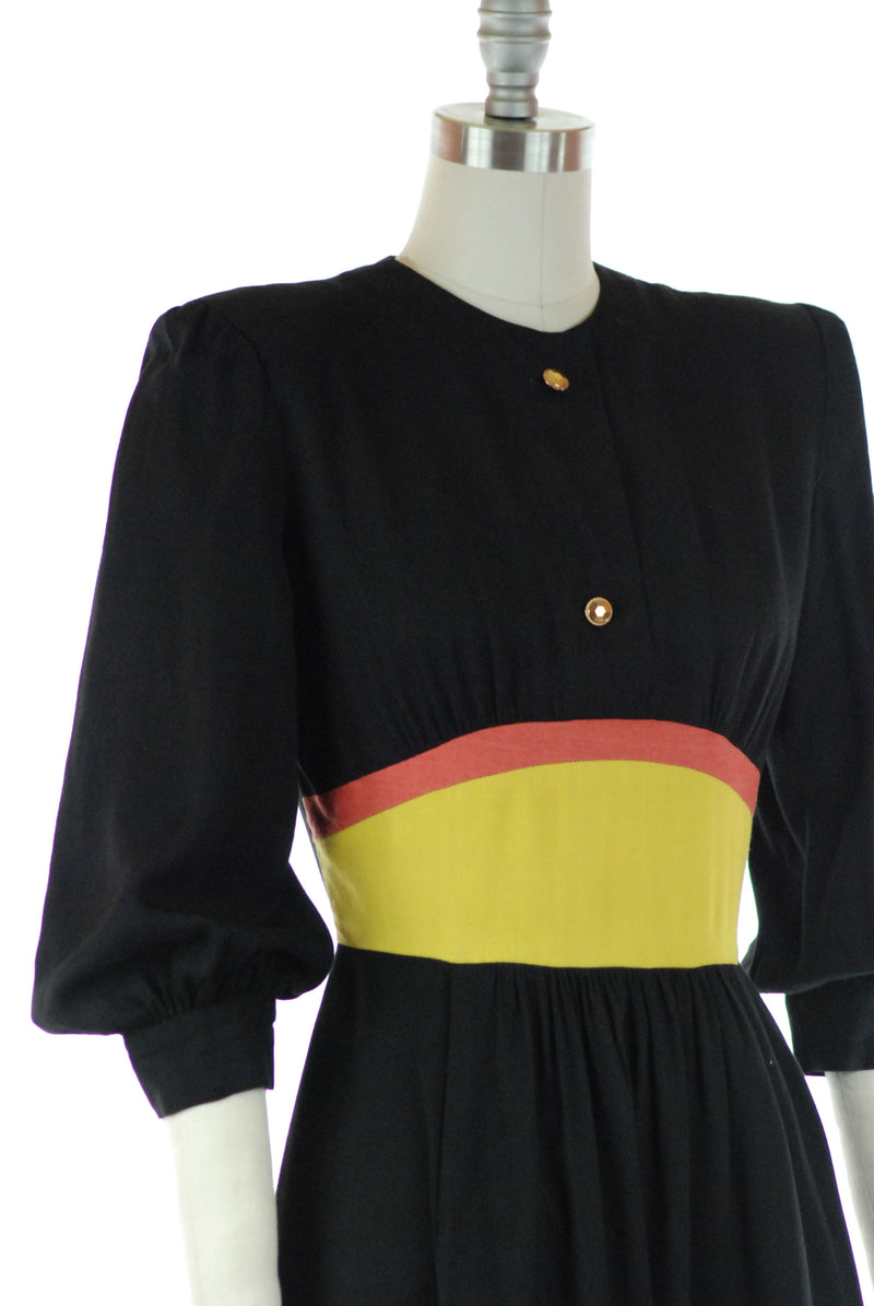 Fantastic 1940s Color Block Day Dress of Black Gabardine with Chartreuse and Coral Pink Midwaist