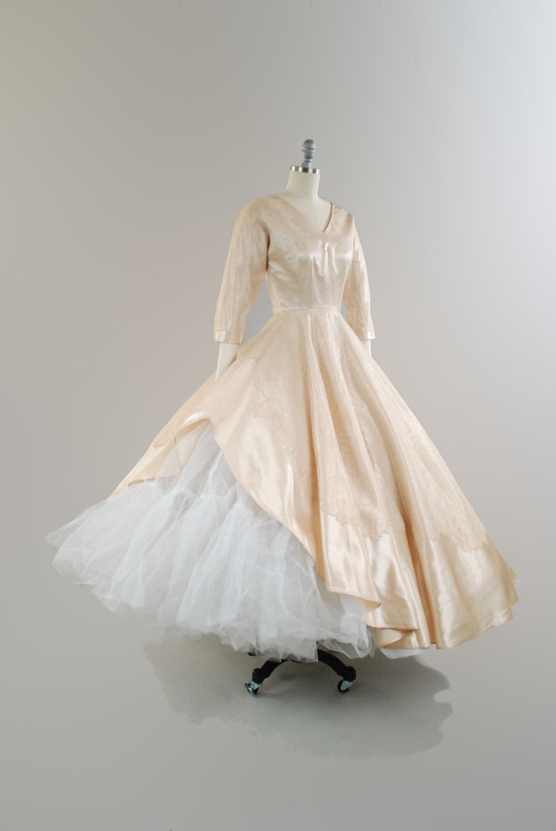 Rare 1950s Asymmetric Peach Ballgown or Wedding Dress with Lace Overlay