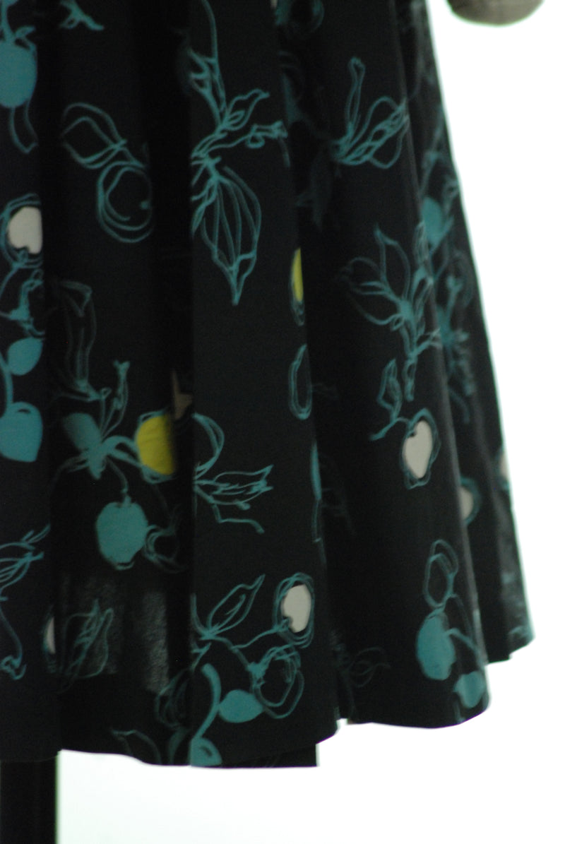 Cotton 1950s Day Dress in Black with Bizarre Cherries Print and Tied Sleeves