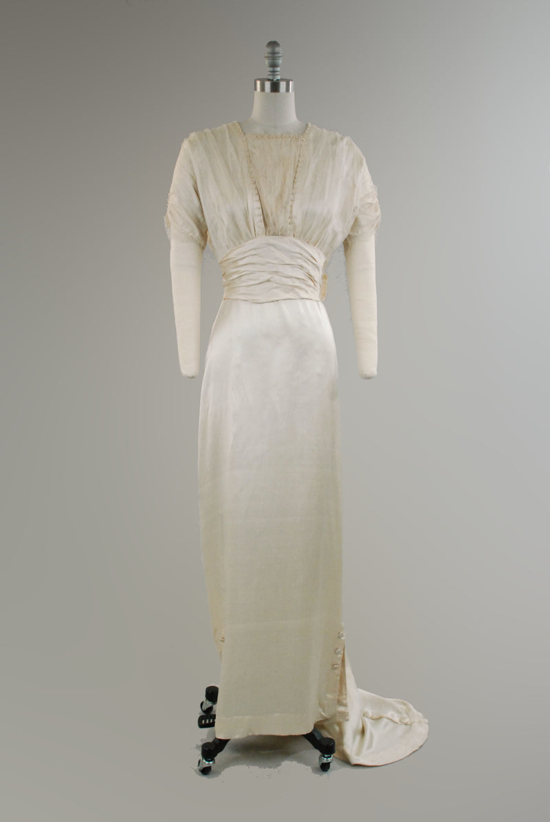Stunning c. 1913 Edwardian Wedding Gown in Silk Satin with Narrow Train