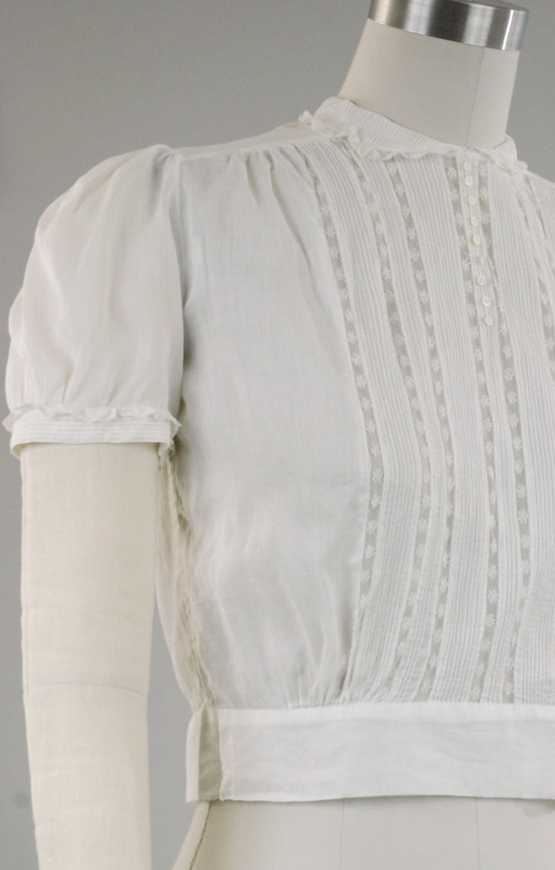 Delicate 1940s Cropped White Cotton Blouse with Fine Details by Patty Woodward