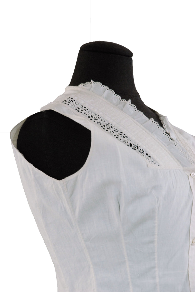 Classic 1900s Edwardian Corset Cover in White Cotton
