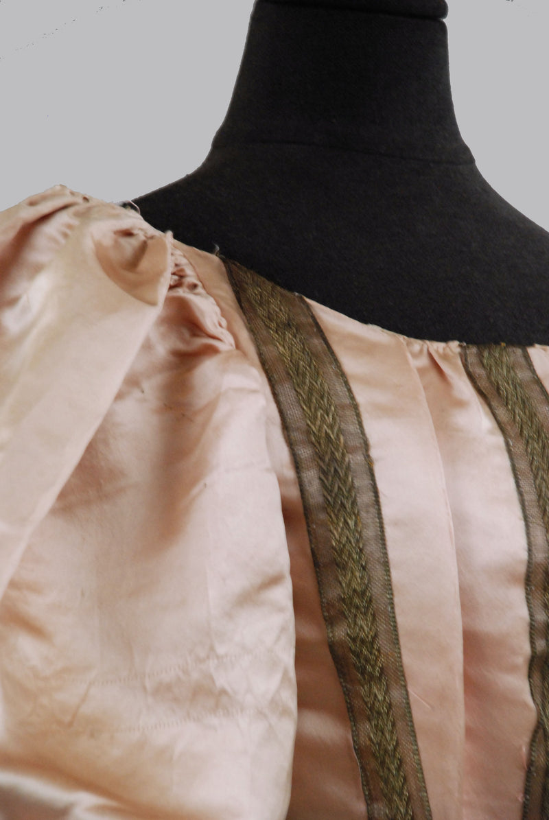 Beautiful Mid-1890s Victorian Ballgown Bodice with Lamé Ribbon Trim
