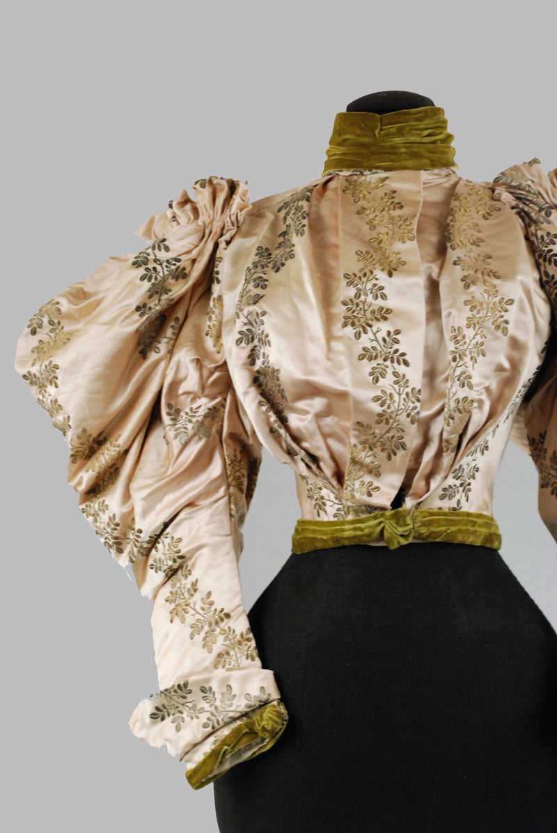 Stunning 1890s Victoria Bodice of Peach Silk with Metallic Brocade c. 1894-96