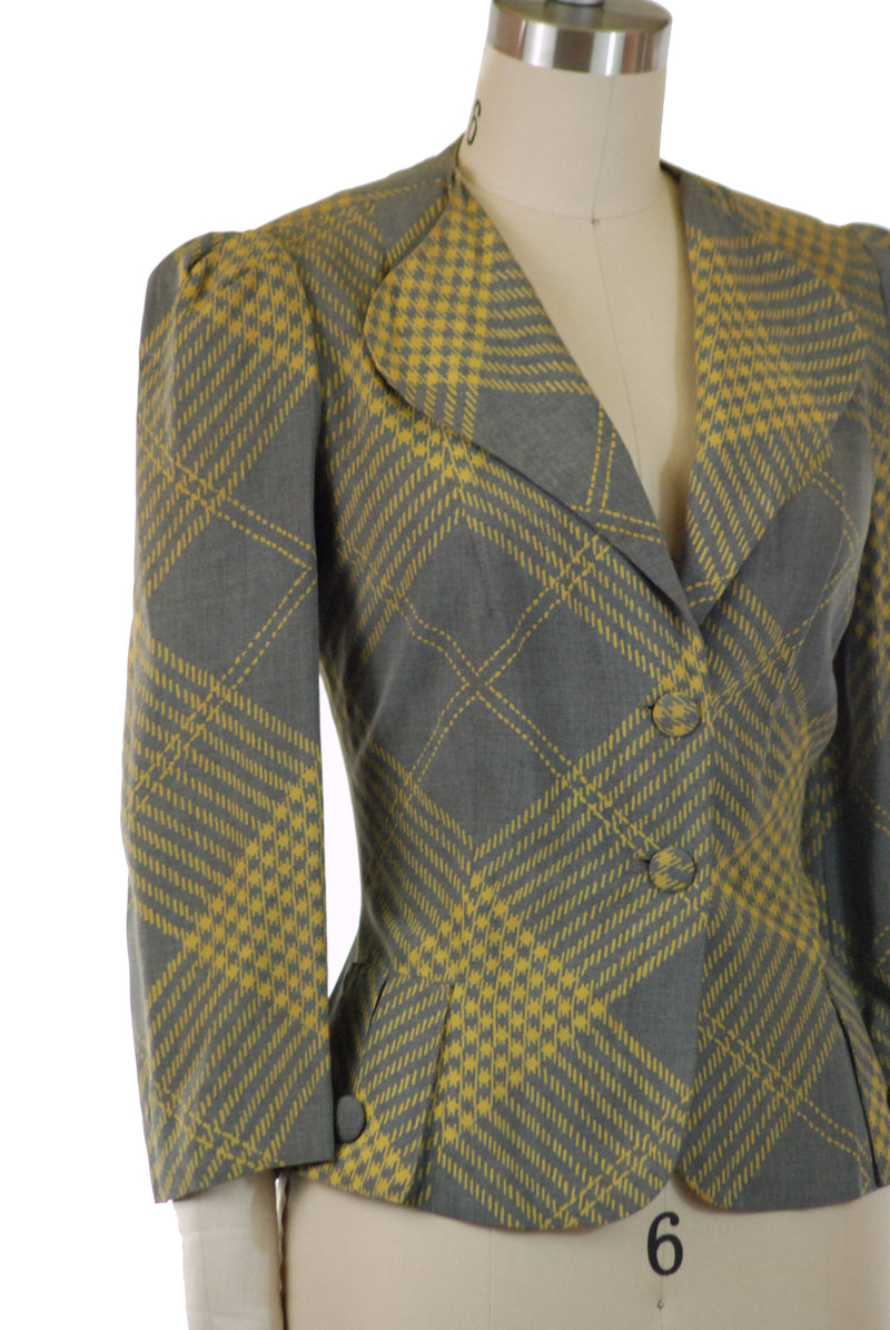 Gorgeous 1940s Tailored Plaid Jacket in Heathered Grey and Yellow Plaid