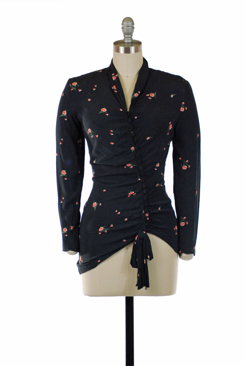 Gorgeous 1940s Day Dress in Black with Bold Novelty Print Bishop Sleeves