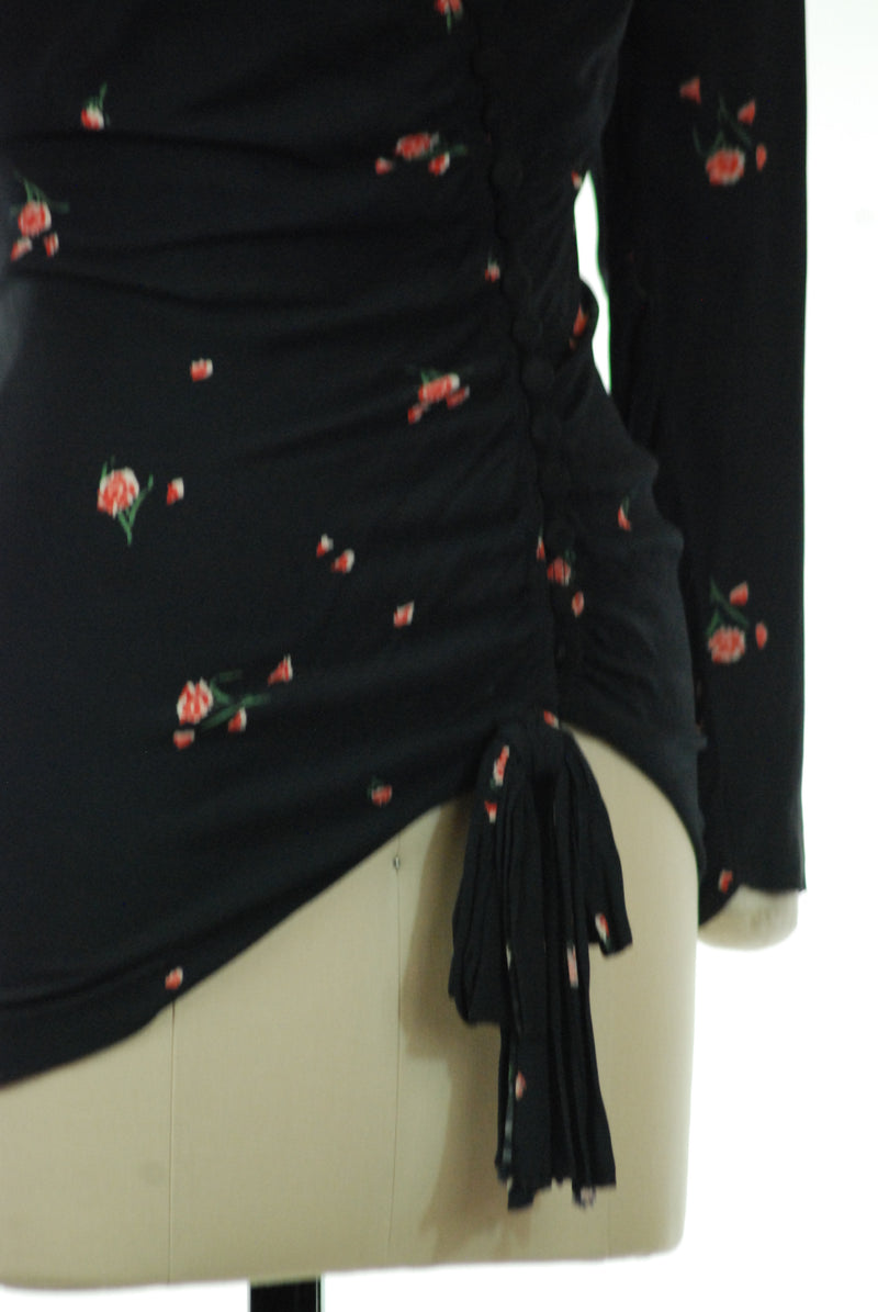 Killer 1940s Draped Evening Blouse of Rayon Crepe with Rose Print
